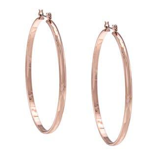 NEXTE Jewelry Rose Goldtone Razors Edge Round Hoop Earrings