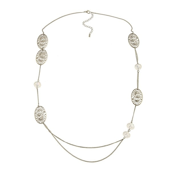 Kate Bissett Silvertone Crystal Filigree Circle Charm Necklace