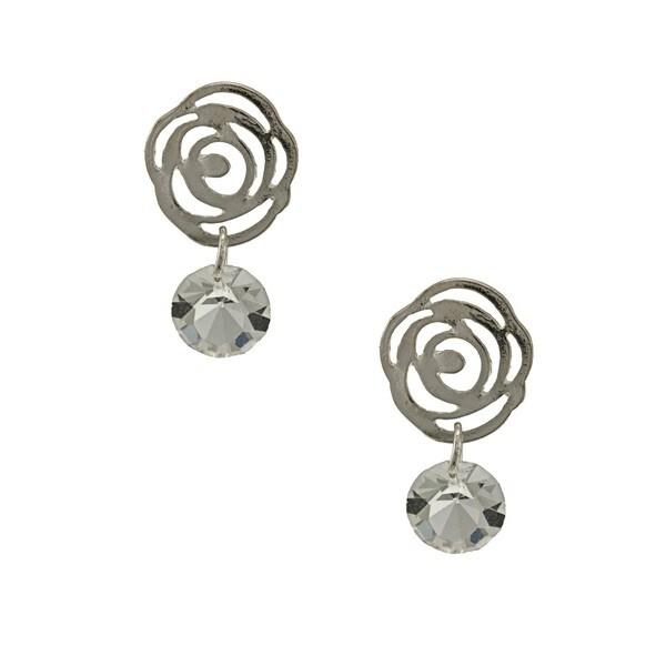 Kate Bissett Silvertone Crystal Flower Earrings