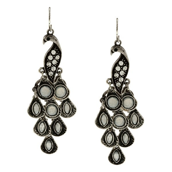 Kate Bissett Silvertone Peacock Earrings