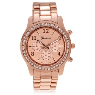 Geneva Platinum Women's Rhinestone-Accented Link Watch