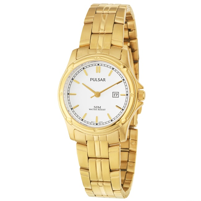 Pulsar Women's 'Basic Dress' Yellow Goldplated Stainless Steel Quartz Date Watch