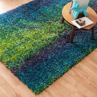 Stella Peacock/ Lime Abstract Shag Rug (3'9 x 5'6)