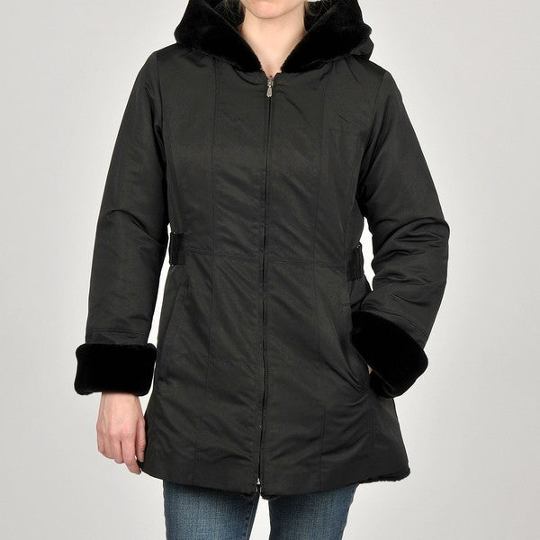 Jones New York Women's Black Zip Front Hooded Coat