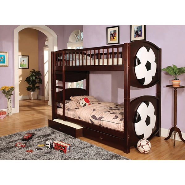 Shop Furniture Of America Twin Twin Soccer Bunk Bed W 2 Drawer