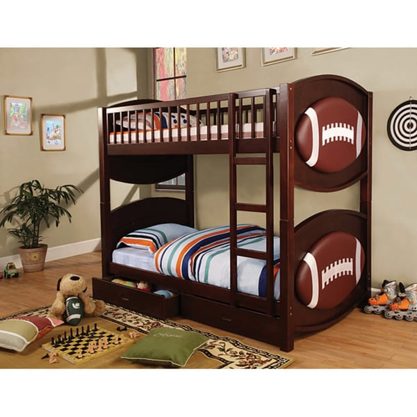 Shop Furniture Of America Twin Football Bunk Bed And Mattress Bundle