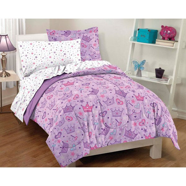 Dream Factory Stars And Crowns Twin 5 Piece Bed In A Bag With Sheet Set