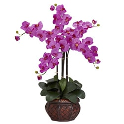 Phalaenopsis with Decorative Vase Polyester Flower Arrangement