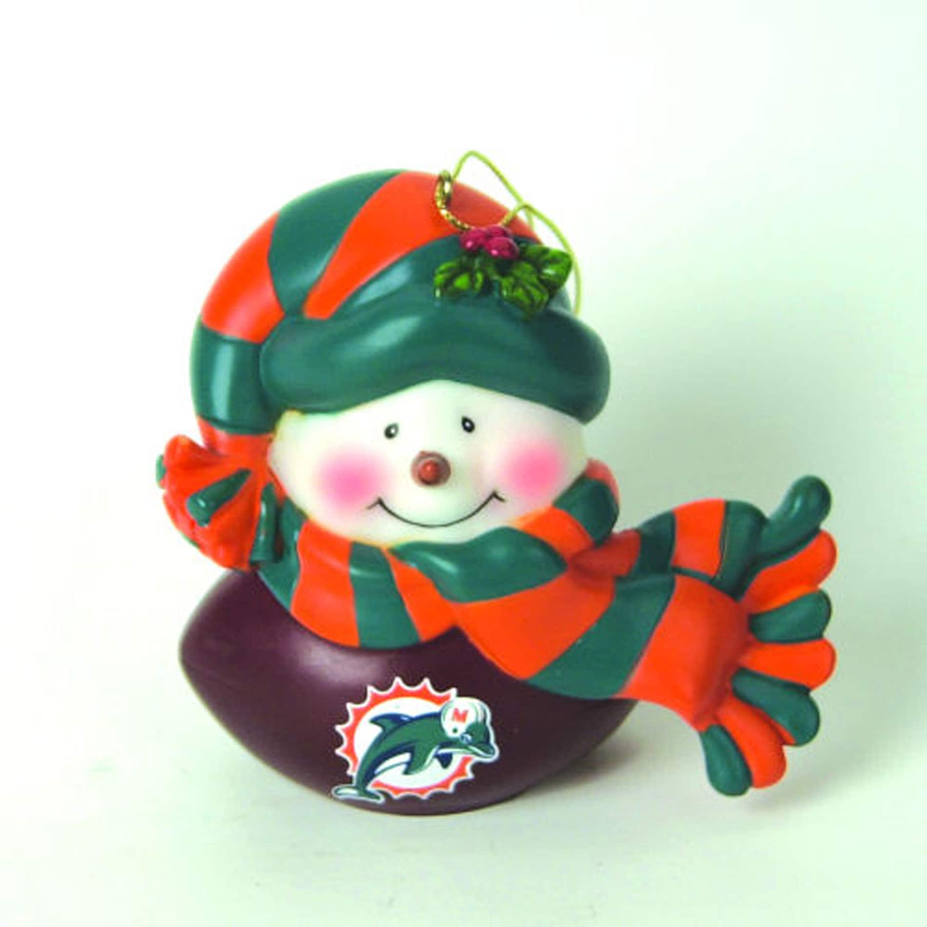 Miami Dolphins Musical Snowman Ornament