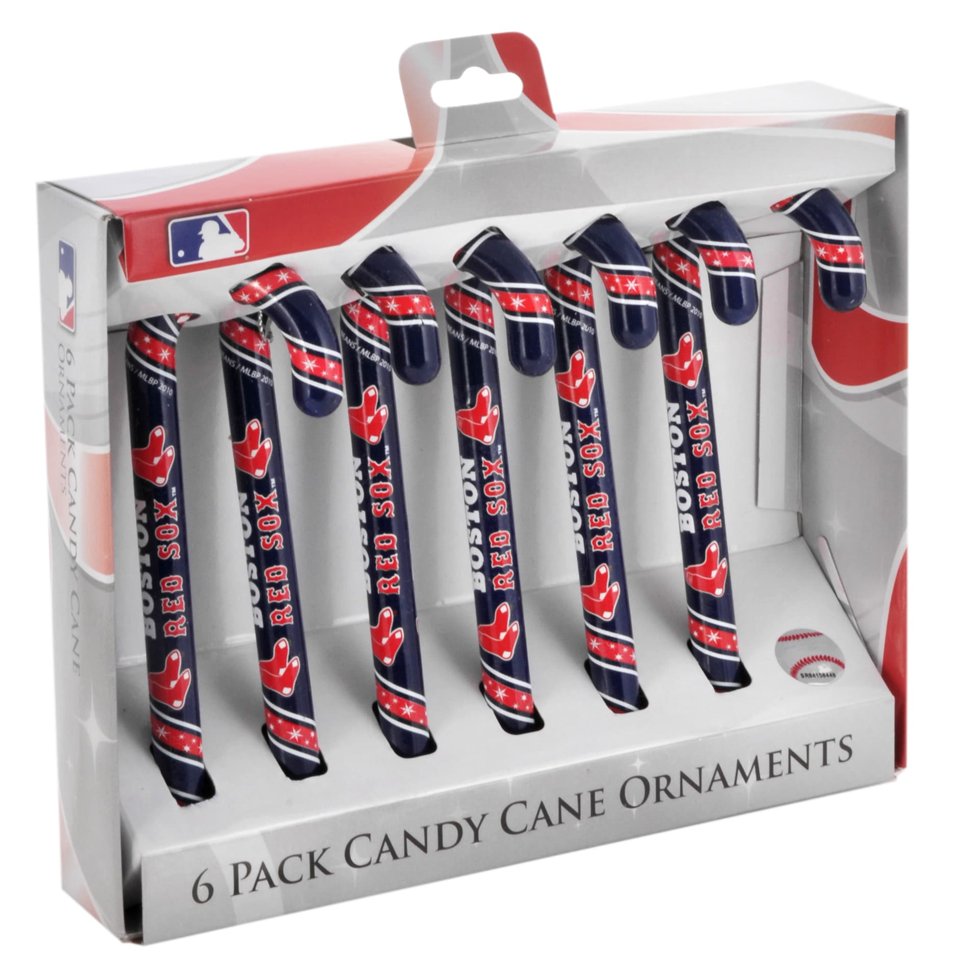 Boston Red Sox Plastic Candy Cane Ornament Set