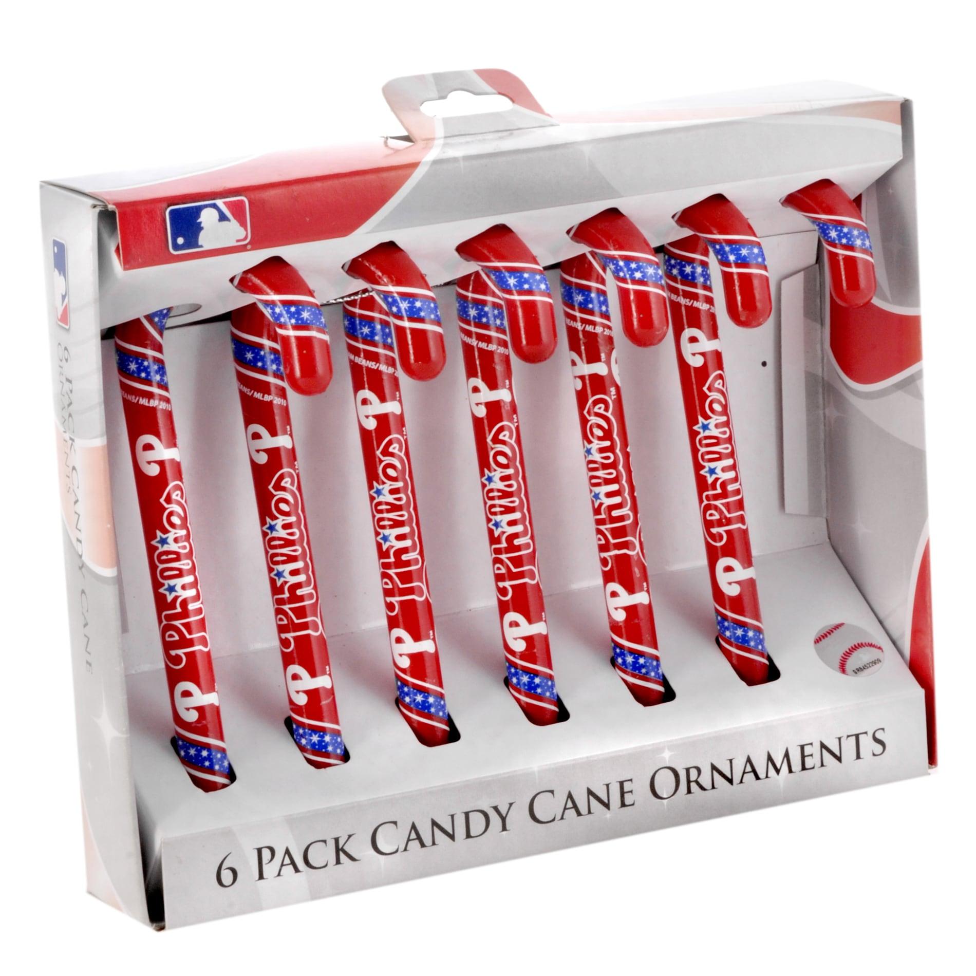 Philadelphia Phillies Plastic Candy Cane Ornament Set