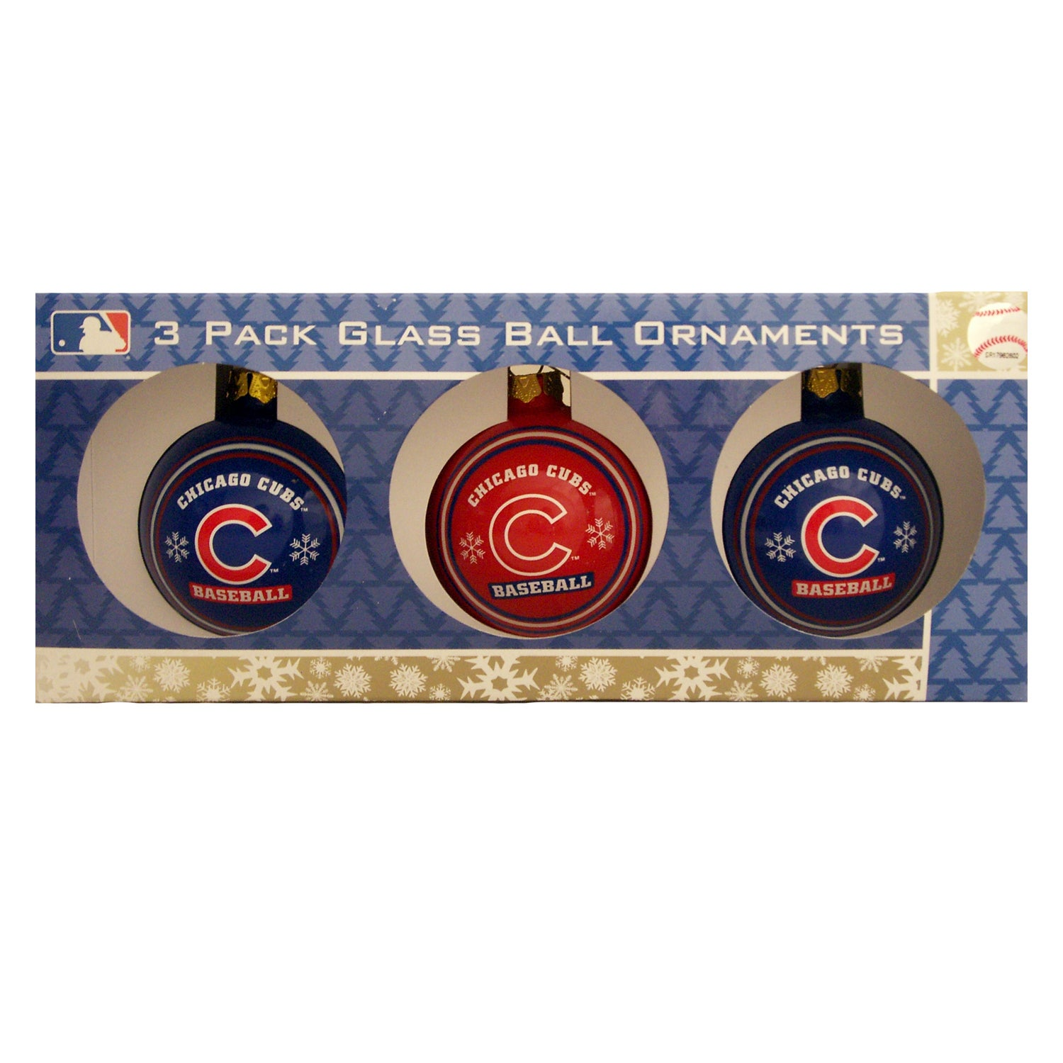 Chicago Cubs Glass Ornaments (Pack of 3) - Thumbnail 0