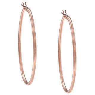 NEXTE Jewelry Rose-goldtone Oval Hoop Earrings with Saddleback Clasp