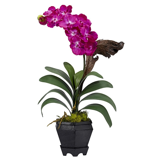 Nearly Natural Vanda with Black Hexagon Vase Polyester Pl...