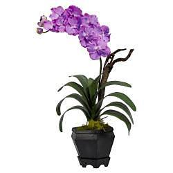 Vanda with Black Hexagon Vase Polyester Plant - Thumbnail 1