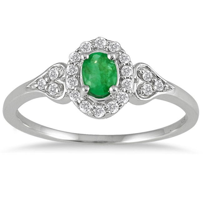 Marquee Jewels 10k White Gold Emerald and 1/6ct TDW Diamond Ring (I-J, I1-I2)