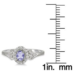 Marquee Jewels 10k White Gold Tanzanite and 1/6ct TDW Diamond Ring (I-J, I1-I2)