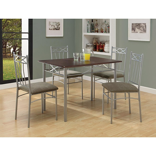Whitley Cappuccino 5 Piece Dinette Set: Cappuccino/ Silver Metal 5-piece Dining Set