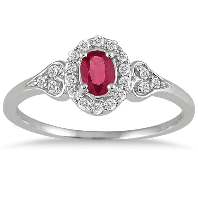 Marquee Jewels 10k White Gold Ruby and 1/6ct TDW Diamond Ring (I-J, I1-I2)