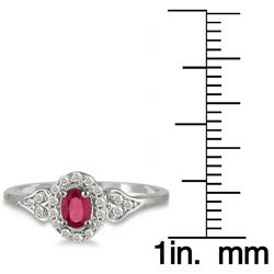 Marquee Jewels 10k White Gold Ruby and 1/6ct TDW Diamond Ring (I-J, I1-I2) - Thumbnail 2