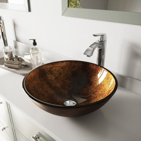 VIGO Russet Glass Vessel Bathroom Sink Set with Linus Vessel Faucet
