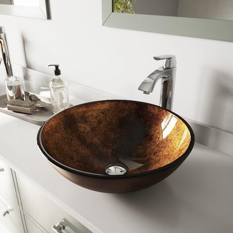 VIGO Russet Glass Vessel Bathroom Sink Set with Linus Vessel Faucet