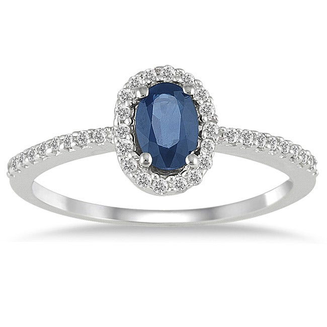 Marquee Jewels 10k White Gold Sapphire and 1/5ct TDW Diamond Ring (I-J, I1-I2)