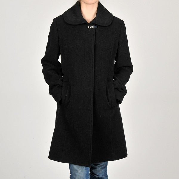 Nautica Women's Black 3/4-length Plush Wool-blend Coat