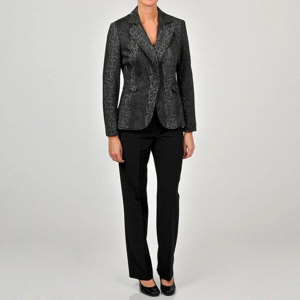 Sharagano Women's Snakeskin Jacket Pant Suit