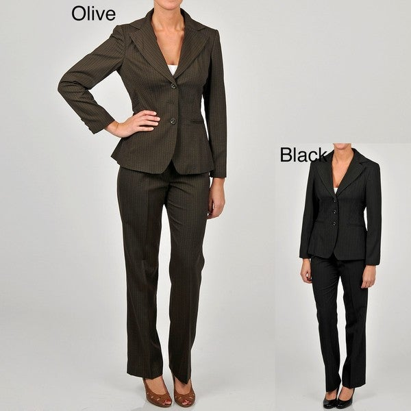 Sharagano Women's 3-button Self Bias Pant Suit
