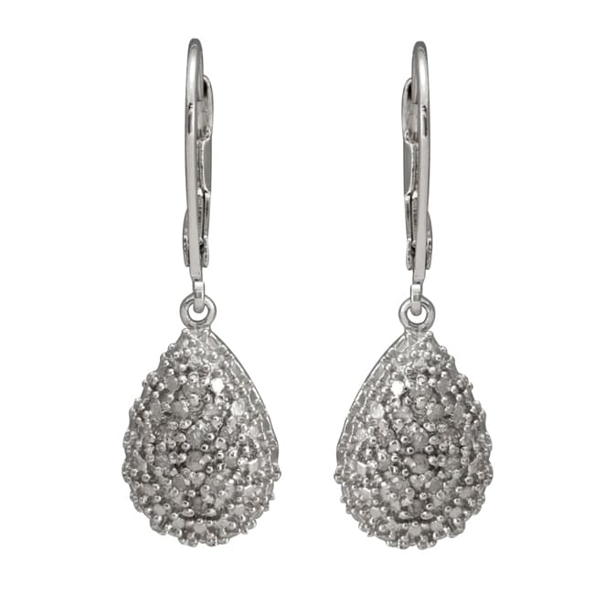 Sterling Silver 1/4ct TDW Diamond Teardrop Earrings (J-K, I3)