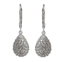 Sterling Silver 1/4ct TDW Diamond Teardrop Earrings (J-K, I3) - Thumbnail 0