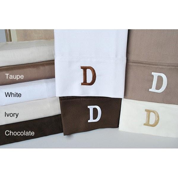 Egyptian Cotton 300 Thread Count Solid Block 'D' Monogram Sheet Set