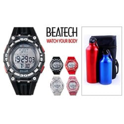 Beatech Black Multi-function Timer Watch with Aluminum Bottle Set