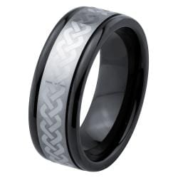 Men's Tungsten Black Ceramic Laser-Etched Band  By Ever One (8 mm)
