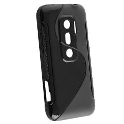 INSTEN Black TPU Rubber Skin Phone Case Cover for HTC EVO 3D - Thumbnail 1