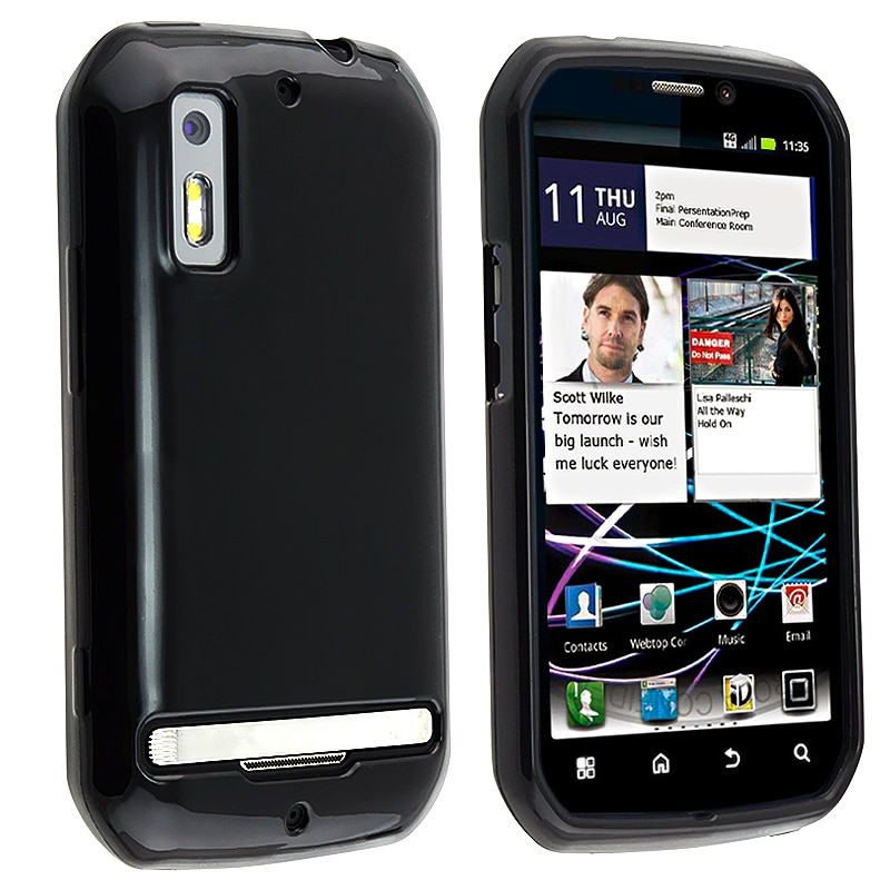 INSTEN Black TPU Rubber Skin Phone Case Cover for Motorola Photon 4G MB855
