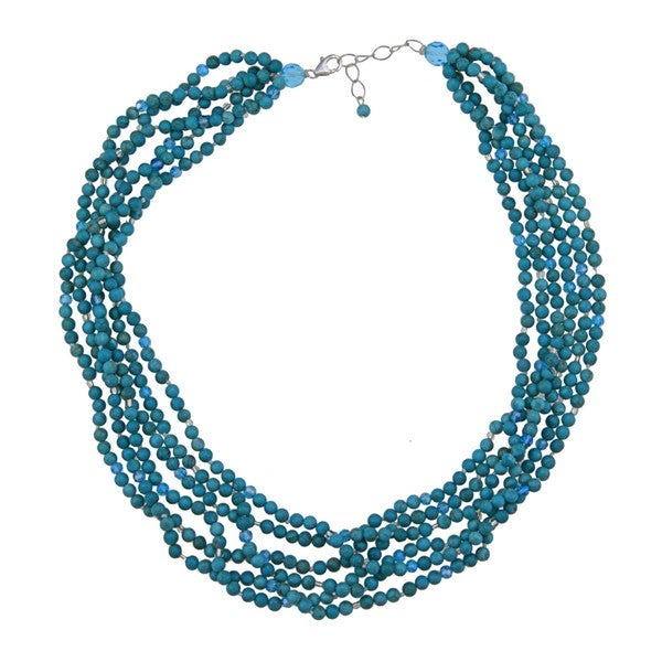 Sterling Silver Dyed Turquoise Magnesite 6-strand 18-inch Necklace