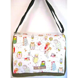 Two Tree Designs White Hoot Owl Messenger Bag