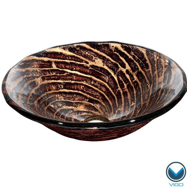 VIGO Chocolate Caramel Swirl Glass Vessel Bathroom Sink