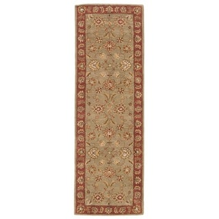 "Della Handmade Floral Taupe/ Red Area Rug (2'6"" X 10')"
