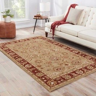 Della Handmade Floral Taupe/ Red Area Rug (10' X 14')