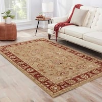 Della Handmade Floral Taupe/ Red Area Rug - 10' x 14'