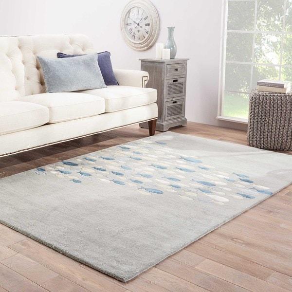 Shoal Handmade Animal Gray/ Blue Area Rug (5' X 8') - 5' x 8'