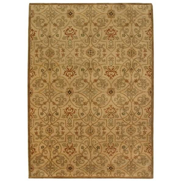 Orosius Hand-tufted Gold/ Brown Wool Rug (5' x 8')