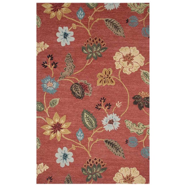 Hand-tufted Red Wool Rug (5' x 8')