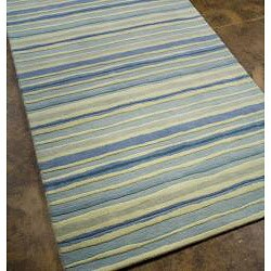 Shop Hand Tufted Blue Stripe Wool Rug 5 X 8 Free