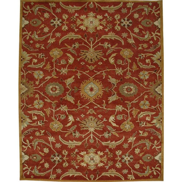 Planta Hand-tufted Red Wool Rug (5' x 8')