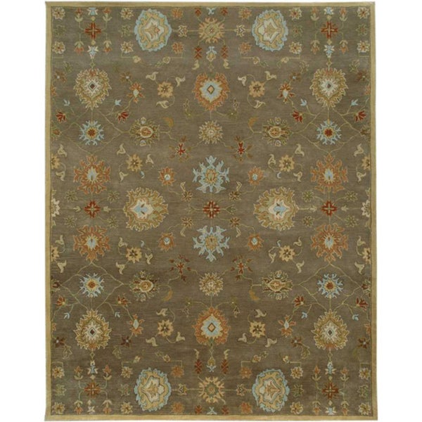 Hand-Tufted Transitional Gray Wool Rug (5' x 8')