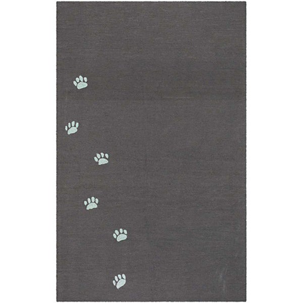 Hand-hooked Brown Pawprint Rug (5' x 7'6)